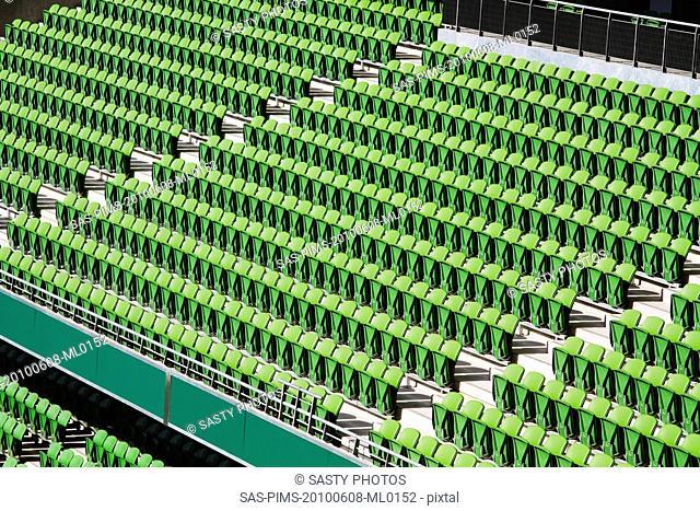 Empty seats in a rugby stadium, Aviva Stadium, Dublin, Republic of Ireland