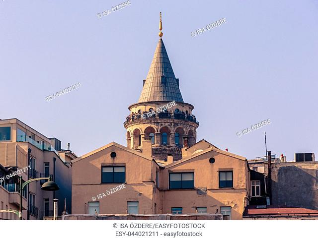 View of Galata Tower, a medieval famous landmark stone tower architecture, in beyoglu, Istanbul. 29 April 2018
