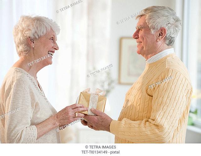 Senior couple celebrating anniversary