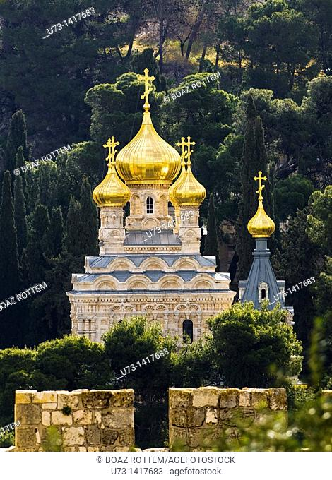 The Russian Orthodox church of Maria Magdalene in Jerusalem