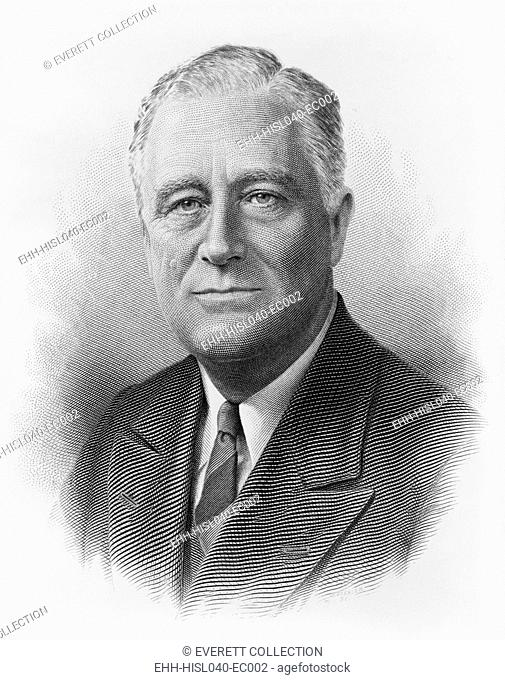President Franklin Roosevelt in a engraved portrait by the Bureau of Printing and Engraving. Ca. 1932-1940. (BSLOC-2015-2-242)