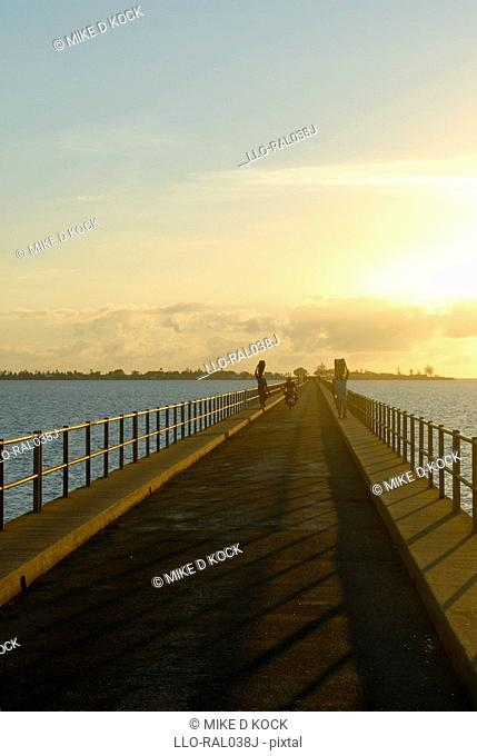 Causeway at dawn connecting Mozambique Island with the mainland, Northern Mozambique