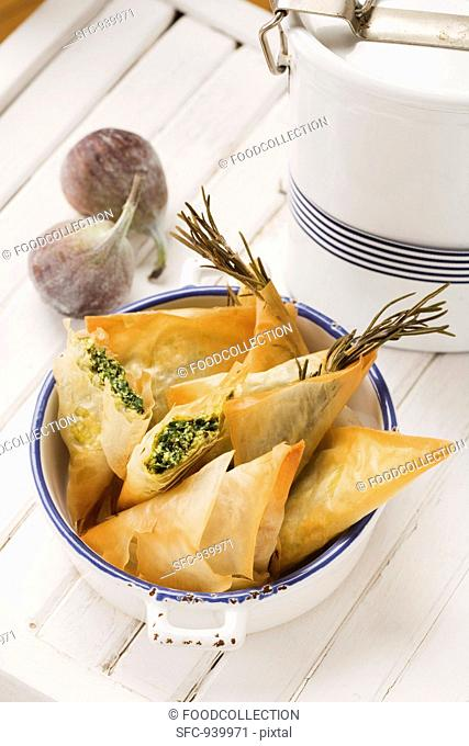 Greek samosas feta-spinach filling and fig-walnut filling