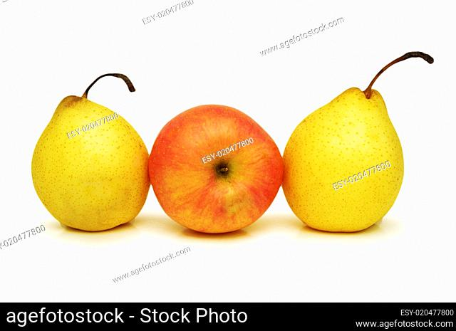 Two yellow pears and apple isolated on white