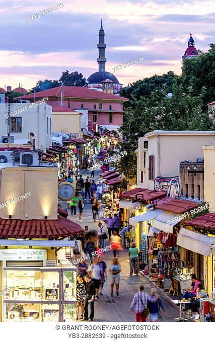 A Busy Street In Rhodes Old Town, Rhodes, Greece