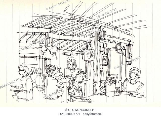 Thai street food restuarant atmosphere illustration sketch