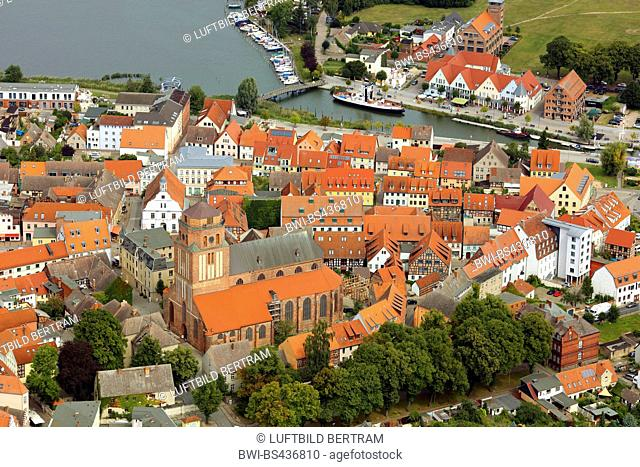 city centre of Wolgast with church St Petri, 17.08.2016, aerial photo, Germany, Mecklenburg-Western Pomerania, Wolgast