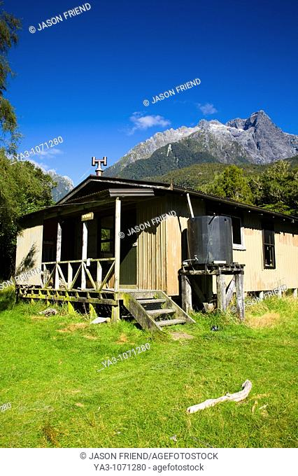 New Zealand, Southland, Fiordland National Park  McKerrow Island Hut, a 12 berth hut offering hunters and hikers shelter in the Hollyford Valley