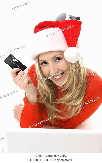 Santa Girl shopping with a card