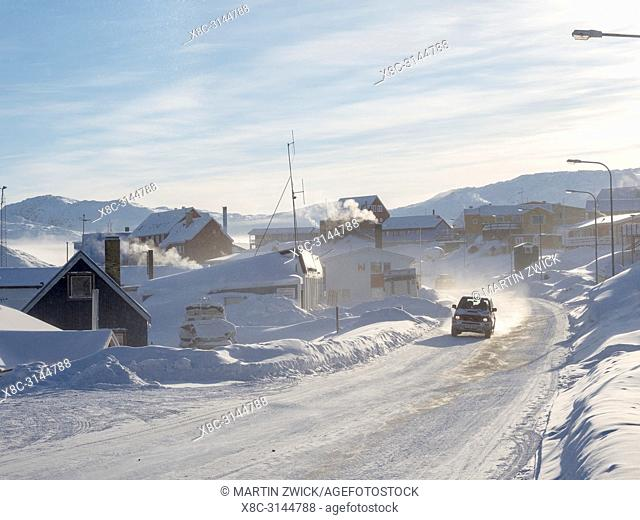 Streets in town. Town Ilulissat at the shore of Disko Bay in West Greenland, center for tourism, administration and economy