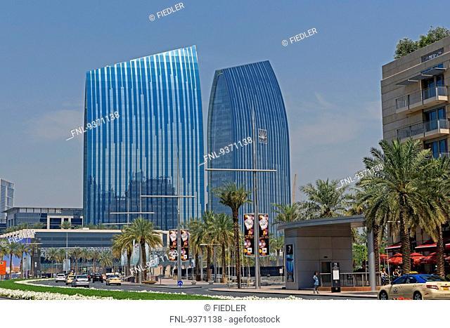 Sheikh Mohammed Bin Rashid Boulevard with skyscrapers, Dubai