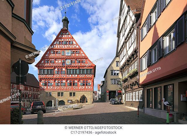 Germany, Grossbottwar, Bottwar, Bottwar Valley, Swabian Franconian Forest, Wuerttemberg Wine Street, Baden-Wuerttemberg, market place, half-timbered city hall