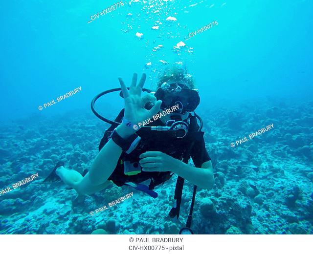 Portrait of scuba diver gesturing okay underwater