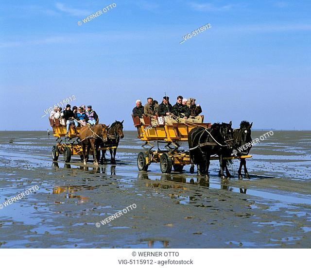 DEUTSCHLAND, CUXHAVEN, DUHNEN, 24.04.1995, D-Cuxhaven, Elbe, North Sea, Lower Saxony, D-Cuxhaven-Duhnen, Wadden Sea at low water