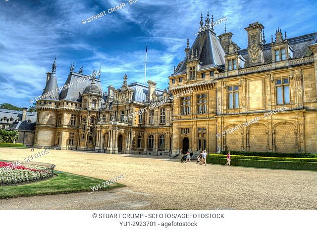 HDR image of the front facarde of Waddesdon Manor