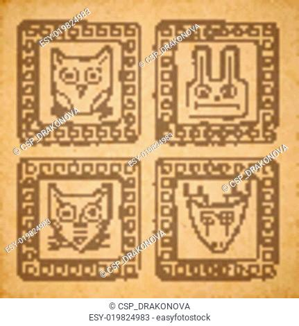 Vector tribal style animal stamps set, mayan ornamental tile on old parchment or cardboard