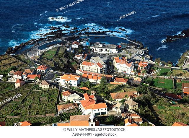 aerial view of the city Porto Moniz, island of Madeira, Portugal, Europe