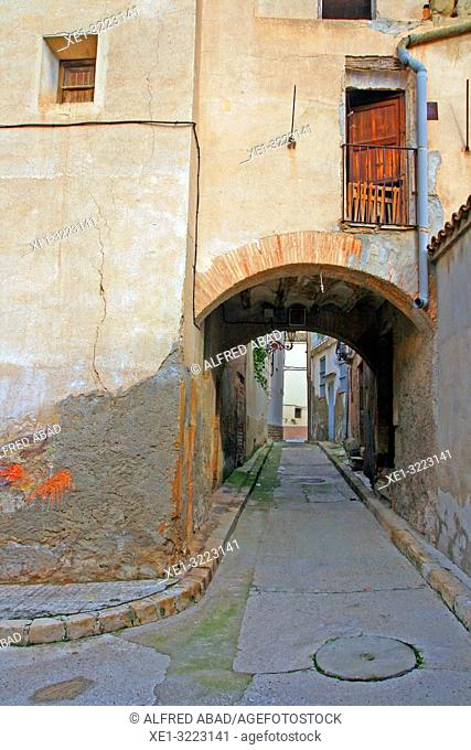 street with arcade, Linyola, Lleida, Catalonia, Spain