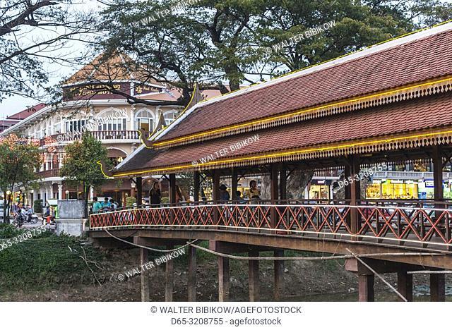 Cambodia, Siem Reap, Night Market footbridge