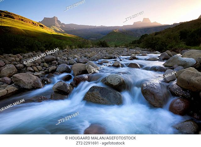 Landscape photo of the Tugela river below the amphitheater. Royal Natal National Park, Drakensberg, South Africa