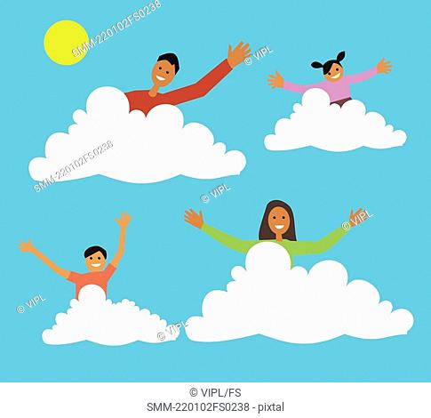 Family sitting on clouds