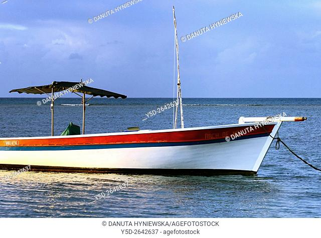 Africa, Mascarene , Mascarene Islands , Mascarenhas , Mauritius, Mauritius, Western Coast near Port Louis, typical fishing boat with sunshade - called Arch de...