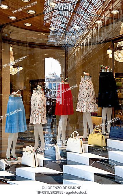 Italy, Lombardy, Milan, Prada shop in Vittorio Emanuele Gallery
