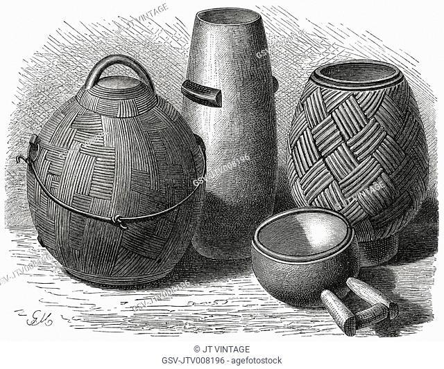 Zulu Wooden Vessels, Africa, Illustration, 1885