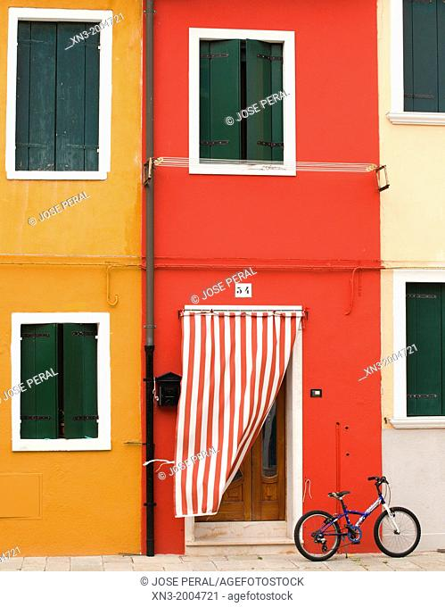 Colorful houses, Burano island, Venice, Veneto, Italy, Europe