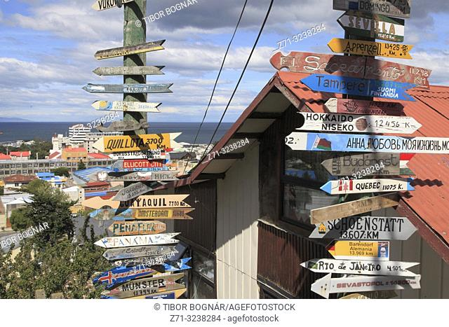 Chile, Magallanes, Punta Arenas, signs of distances,