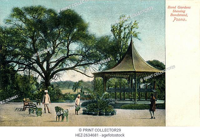 'Bund Gardens Shewing Bandstand, Poona', c1900. Artist: Unknown
