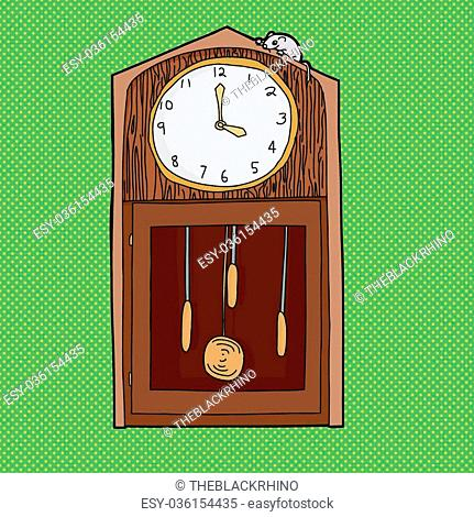 Mouse on top of antique grandfather clock over green