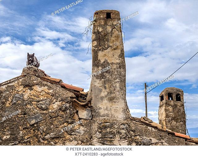 Cat and chimineys in The Outer Mani, Southern Peloponnese, Greece