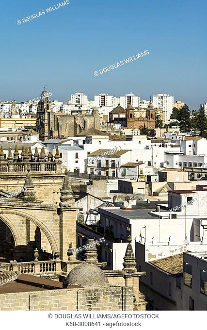 Churches dominate the skyline of the old part of Jerez in the view from the Alcazar in Jerez de la Frontera, Cadiz province, Andalucia, Spain