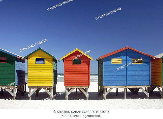 Colorful beach huts at the sandy beach of Muizenberg with blue sky, False Bay near Cape Town, South Africa