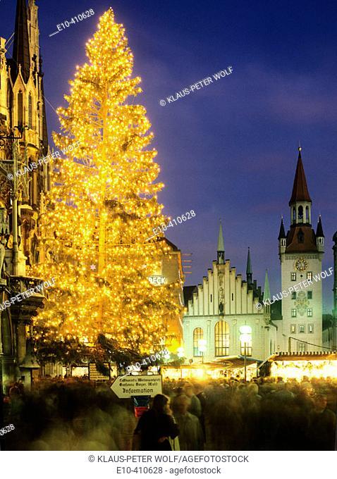 Christkindlmarkt at the Marienplatz Christmas Fair and Old City Hall Munich Upper Bavaria Germany