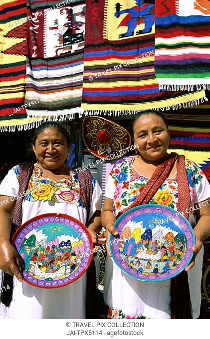 Souvenir Store / Women / Female Vendors Dressed in Mayan Costume / Traditional Dress, Cancun, Yucatan, Mexico