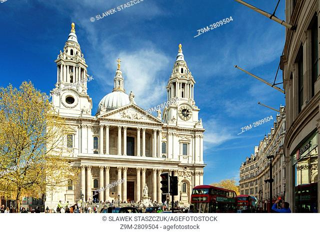 Facade of St Paul's cathedral in the city of London, England