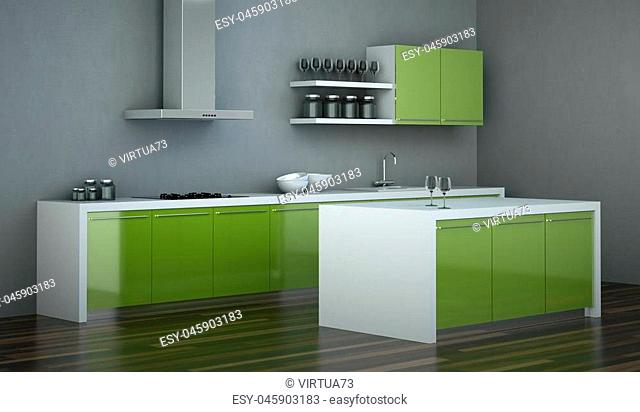3d Illustration of modern green kitchen in loft with a beautiful design