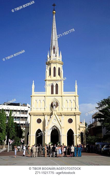 Thailand, Bangkok, Holy Rosary christian church, people