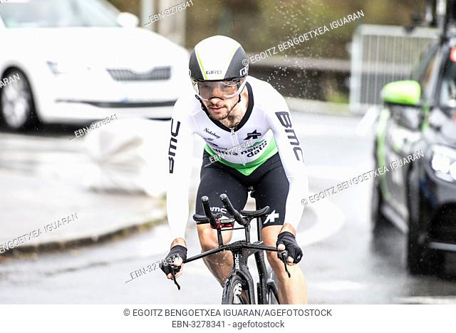 Jacques Willem Janse Van Rensburg at Zumarraga, at the first stage of Itzulia, Basque Country Tour. Cycling Time Trial race