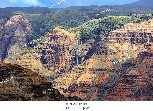 Waimea Canyon waterfall; Waimea, Kauai, Hawaii, United States of America