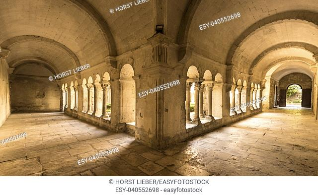 Cloister of the Monastery of San Paul de Mausole at Saint-Remy de Provence, where Van Gogh spent in 1889. Bouches du Rhone, Provence, France
