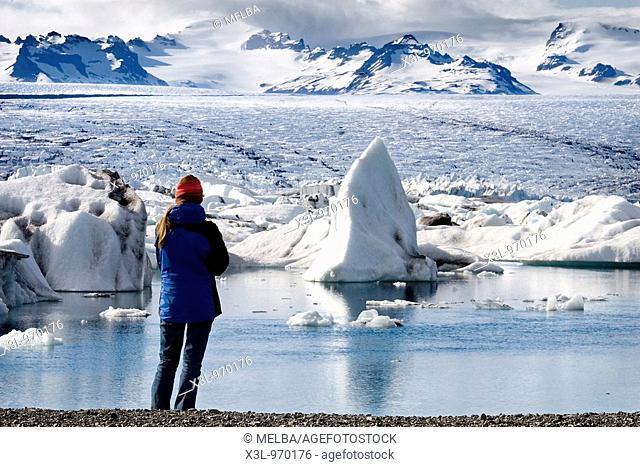 Jökulsárlón, glacier lagoon  Breioamerkurjokull glacier, a part of Vatnajokull glacier, the biggest in Europe  Skaftafell National Park  Iceland