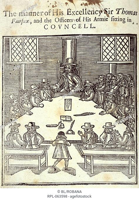 Sir Thomas Fairfax and the general council of the Parliamentarian army. Image taken from A Declaration of the Engagements Remonstrances Representations...