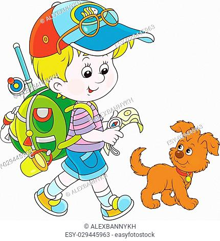 Vector illustration of a little boy walking with his dog, carrying a backpack and holding a map and a compass