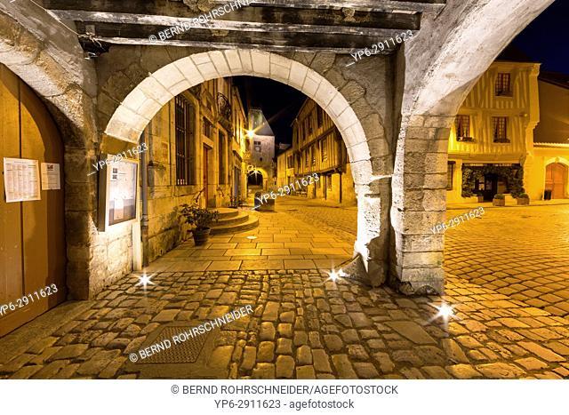 French village Noyers at night, Yonne, Bourgogne, France