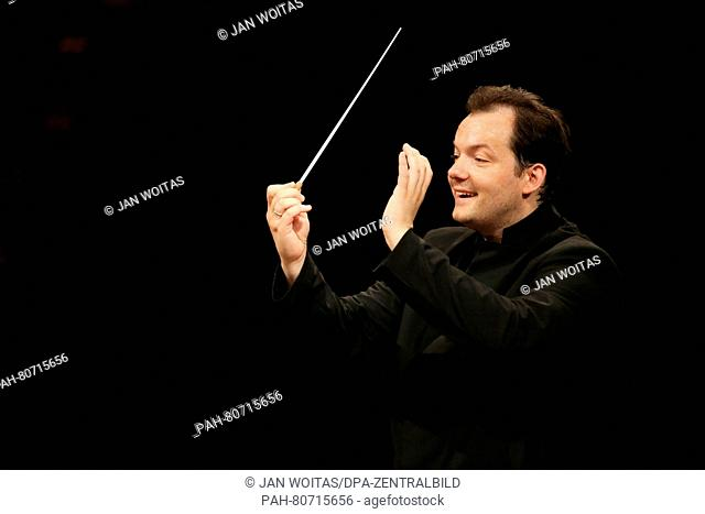 Andris Nelsons conducts the Gewandhaus Orchestra during rehearsal in Leipzig, Germany, 26 May 2016. The 36 year old from Latvia will take office at the start of...