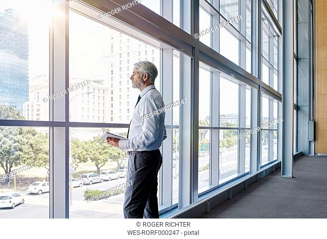 Businessman looking out of a big window