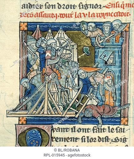 Guinevere beseiged in tower, Miniature Guinevere, defended by two hundred knights, is beseiged in the Tower of London by Mordred